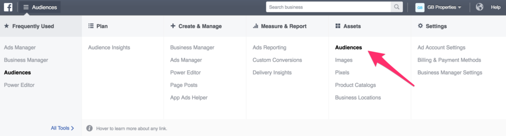 audiences in facebook ads manager