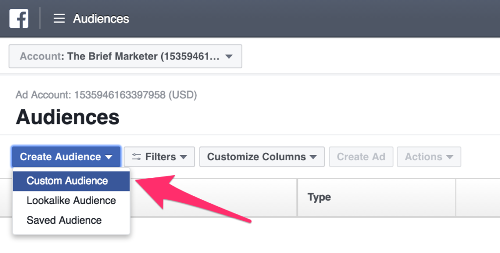 create custom audience in facebook ads manager