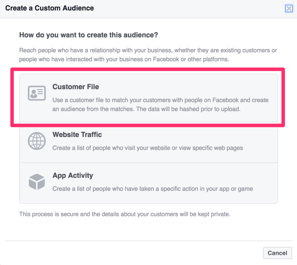 select customer file in facebook ads manager audiences