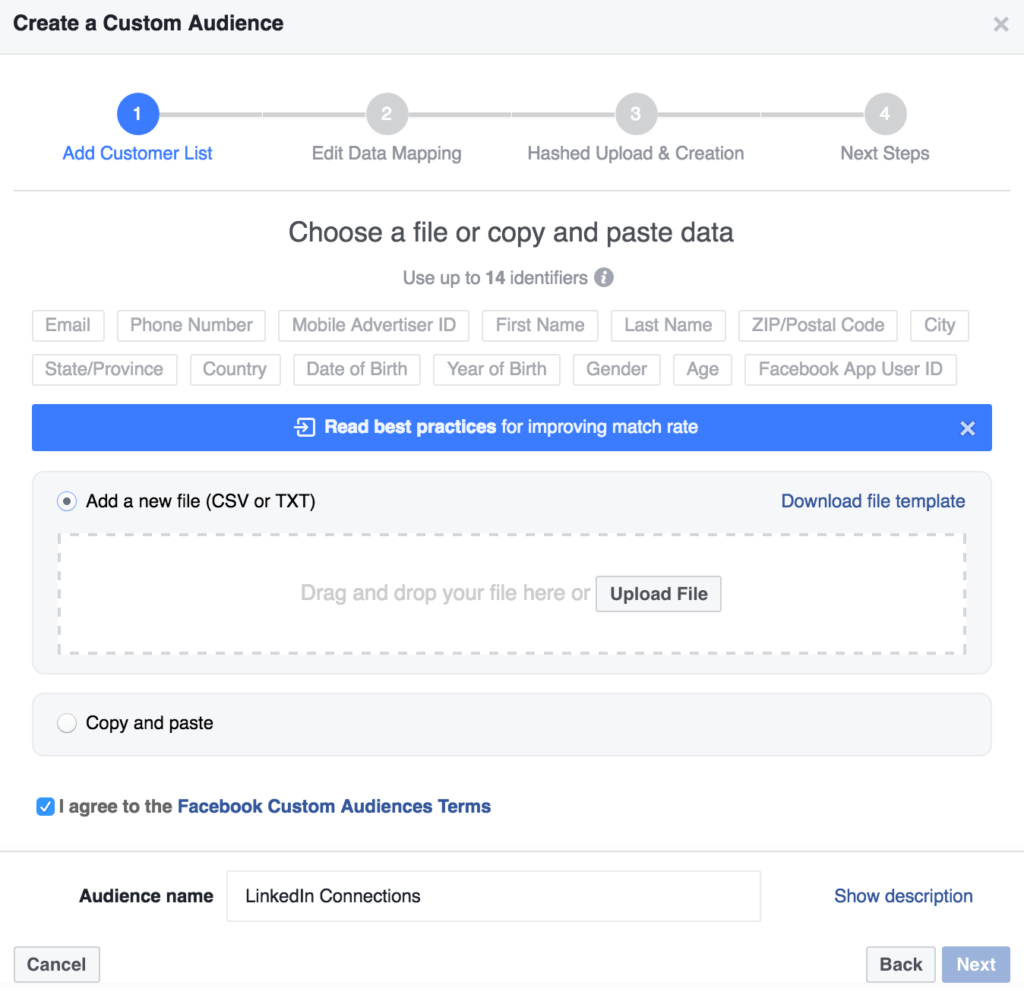 upload a .csv file of email addresses or copy and paste to add a custom audience in facebook