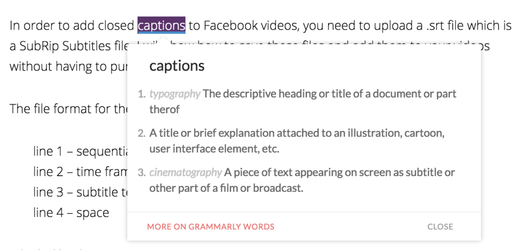 Grammarly double click definitions