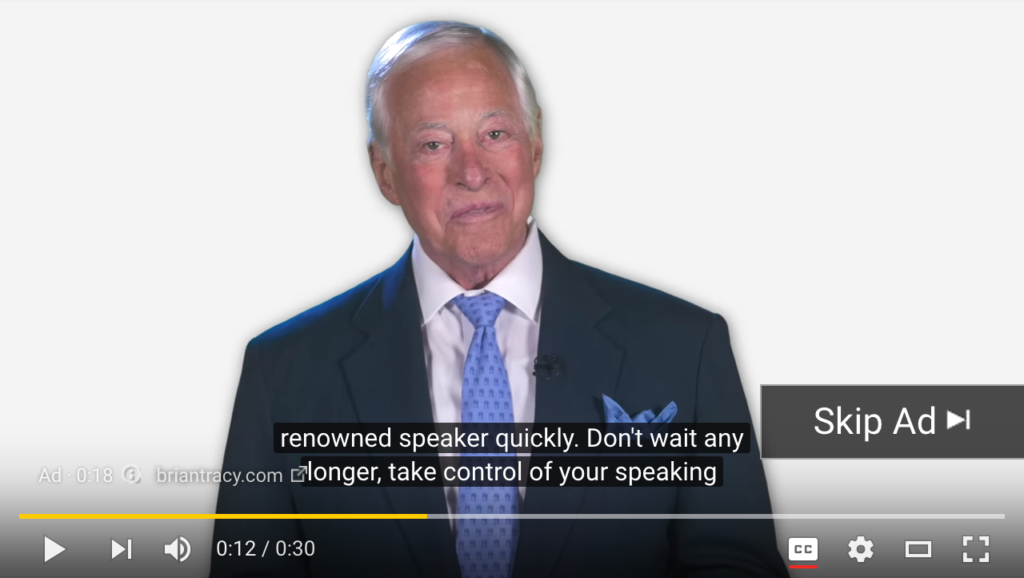 example of YouTube captions on a video ad