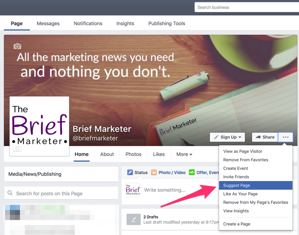 how to suggest your facebook page to an email list