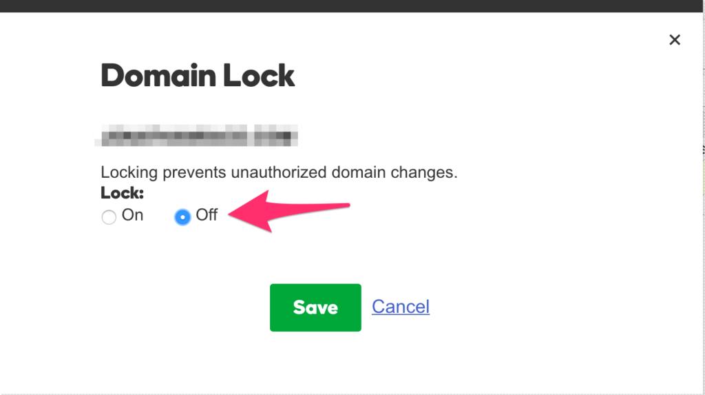 turn domain lock off in godaddy