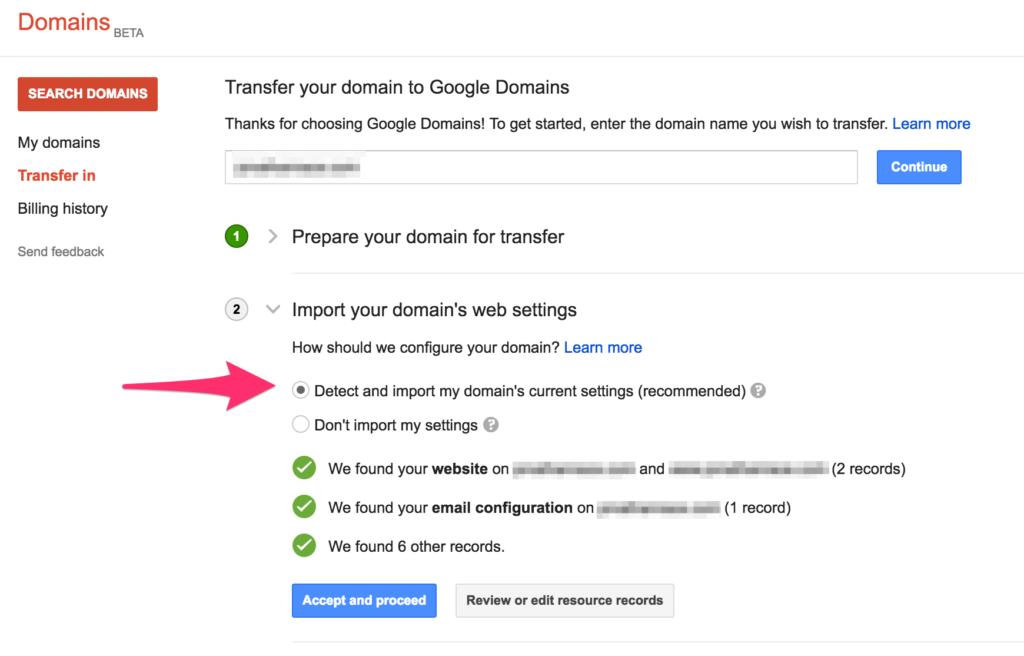 google domains import existing domain settings