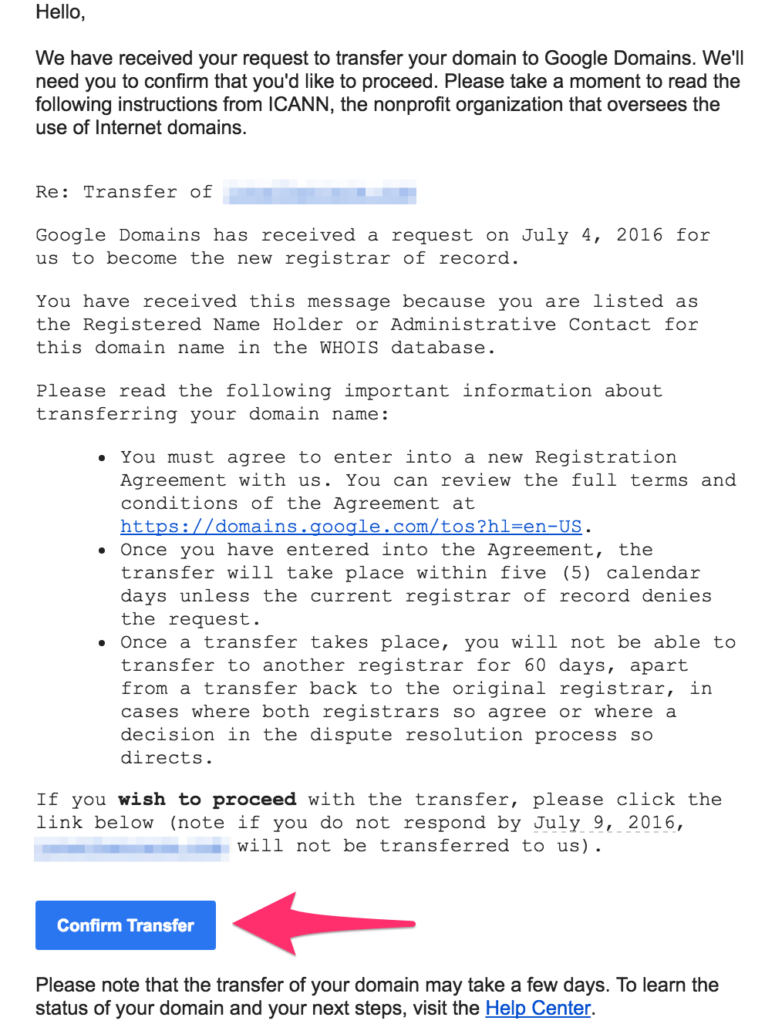 google domains authorize transfer email