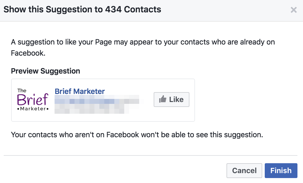 how your facebook page suggestion will look to your email list