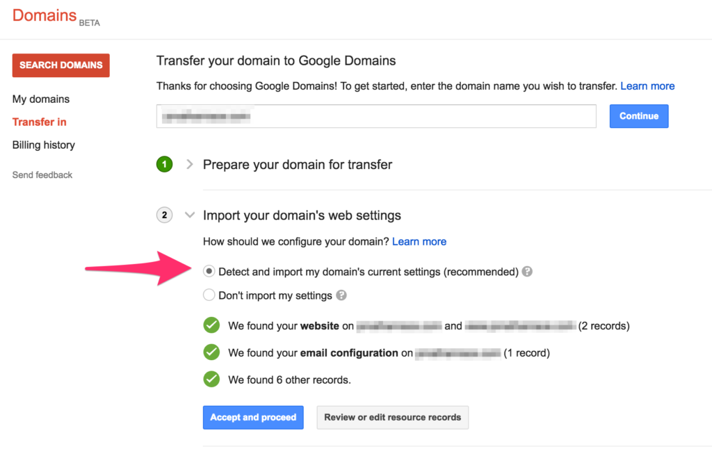 google domains import existing domain settings