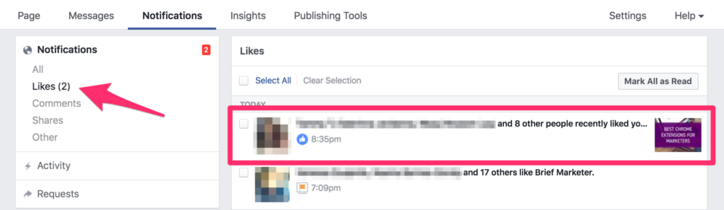 check your business page's notifications on facebook