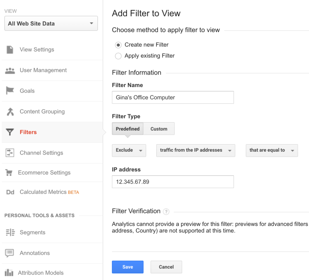 add filter to view in google analytics to exclude your ip